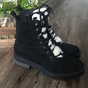 Micro suede Faux Sherpa Boots
